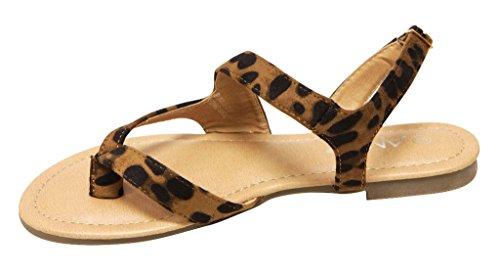 Anna Bonnie-200 Femmes Slingback Réglable Cheville Sangle Style Nubuck Tongs Sandales Leopard