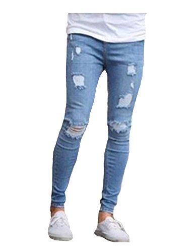 Jeans Fit Claro Hombres Angustiado Jueshanzj Slim Azul nBZwx7U7qC