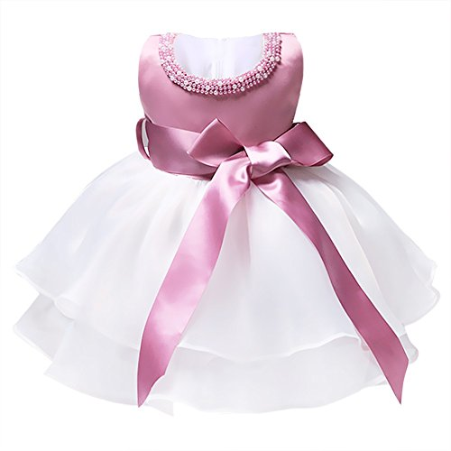 TiaoBug Infant Baby Girls Princess Organza Pearls Wedding Party Bow Tutu Dress White, Pink 0-3 Months
