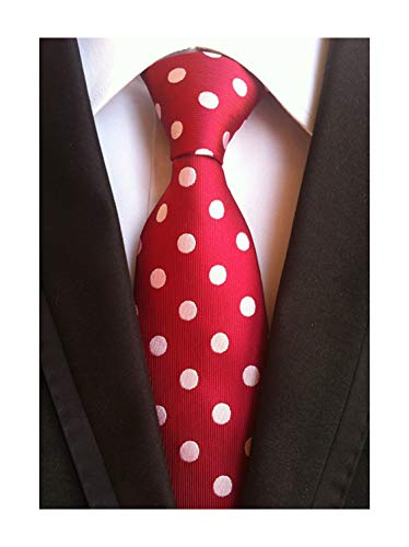 Tie Patterned Red (Men's Hot Red Silk Ties White Polka Dot Cravat Woven Neckties for Wedding Dress)