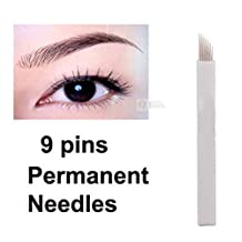 WellieSTR 50pcs (9 Pins) Permanent Makeup Manual Eyebrow Tattoo Needles Blade For 3D Embroidery Microblading Tattoo Pen Machine