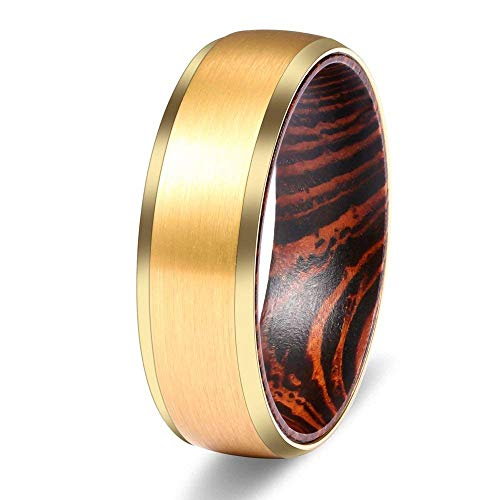 (WASOLIE Mens 8mm Tungsten Wengue Wood Sleeve Wedding Ring Engagement Band Golden Matte Finish Comfort Fit Flat Style/Beveled Edge Size 12)