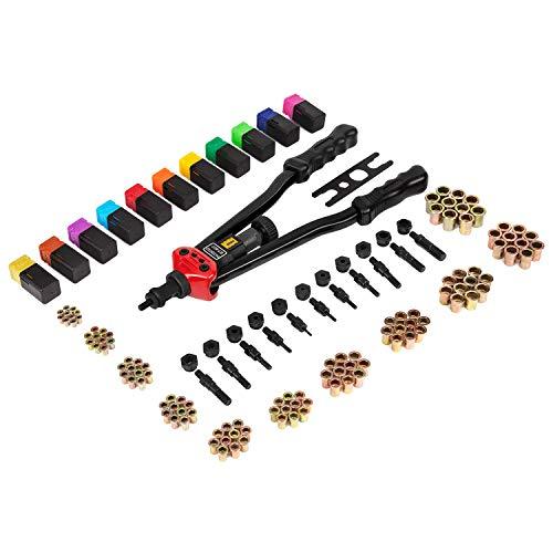 """- 16"""" Hand Rivet Nut Tool, Professional Rivet Nut Setter Kit with 11PCS Metric & Inch Mandrels,110PCS Rivet Nuts"""