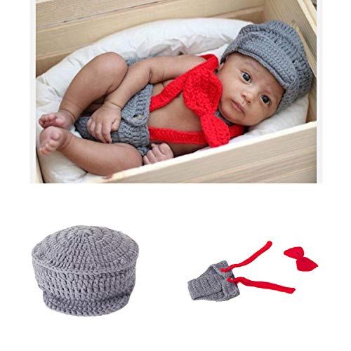 Newborn Baby Boy Costume Crochet Outfits Photography Props Cap Beanie with Suspenders Bowtie Diaper (0-12months) -