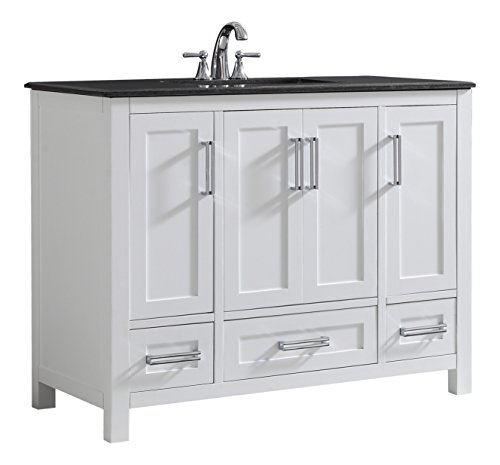 (Simpli Home AXCVSHW-42 Evan 42 inch Contemporary Bath Vanity in White with Black Granite Top)