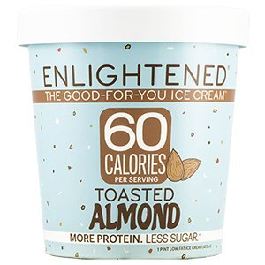 Cream Almond Ice Milk - Enlightened - The Good For You Ice Cream, High Protein-Low Sugar-High Fiber-Low Fat, Toasted Almond, Pint (8 Count)