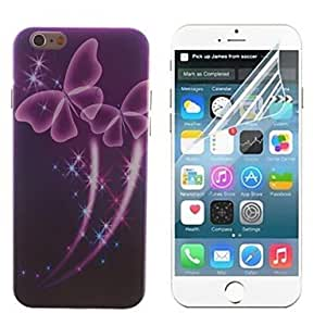 ZL Pink Transparent Butterfly Design Hard with Screen Protector Cover for iPhone 6