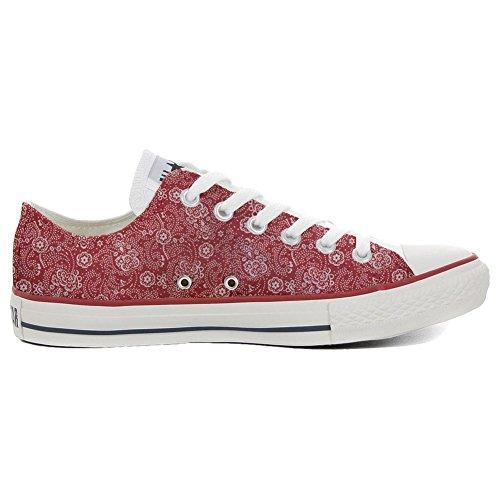 Converse Red Slim Customized Schuhe Schuhe Paisley Personalisierte All Star Handwerk HwqC7Hr
