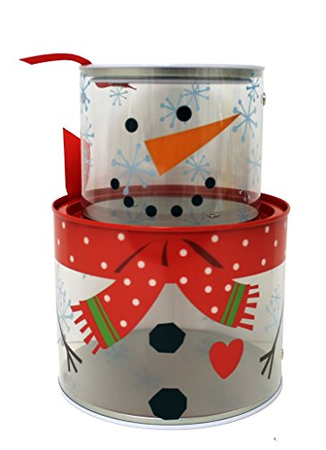 The Tin Box Company 971707 Snowman Stacking Tin Box (Clear), 5-1/4 Inches Dia x 7-1/4 Inches H (Tin Stacking)