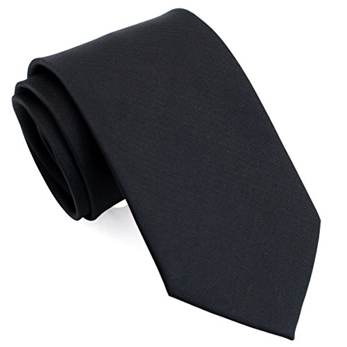 Extra Long 63 Solid Color Neckties for Big/Tall Men Black LST019 - Black Polyester Extra Long Ties