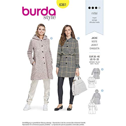 Burda Style Sewing Pattern B6361 - Misses' Jackets, A(10-12-14-16-18-20) ()