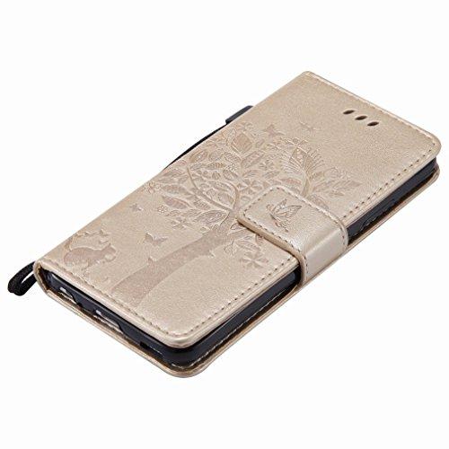 Yiizy Huawei P10 Custodia Cover, Alberi Disegno Design Sottile Flip Portafoglio PU Pelle Cuoio Copertura Shell Case Slot Schede Cavalletto Stile Libro Bumper Protettivo Borsa (Dorato)