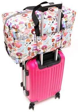 Folding Carry-on Bag Foldable Travel Bag Women Large Capacity Portable Shoulder Duffle Bag Cartoon Printing Waterproof Weekend Luggage Tote S16