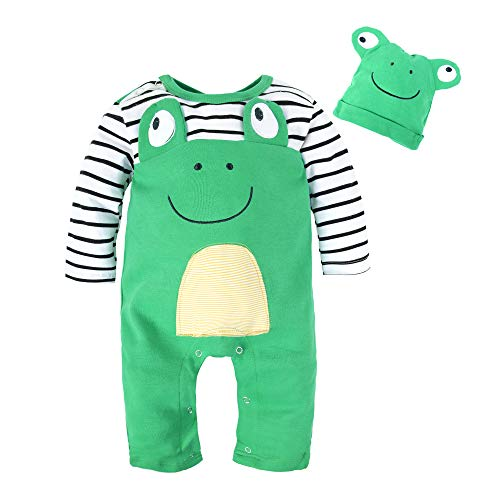 BIG ELEPHANT Baby Boys' 1 Piece Frog Long Sleeve Romper With Hat G81,frog,6-12 Months/Tag size 90