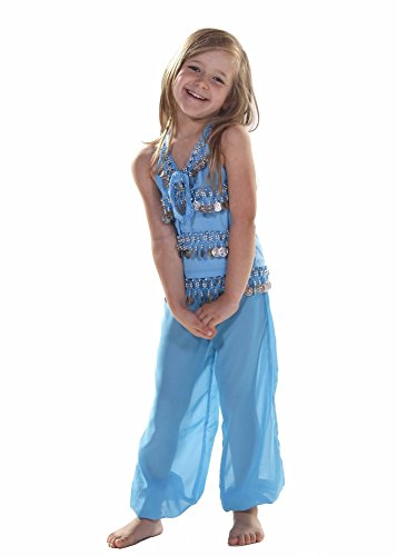 Jasmine Costume Modest (Belly Dance Kids Top & Harem Pants Costume Set | Raqin Right - Turquoise/Gold - 5-8 Years Old)