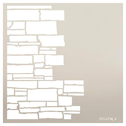 Multimedia Stacked Stone Half Wall Stencil StudioR12 | Wood Signs | Reusable Mylar Template | for Cake Decorating | Multi Layering Art Projects | Journal Art Word | DIY Home - Choose Size (6