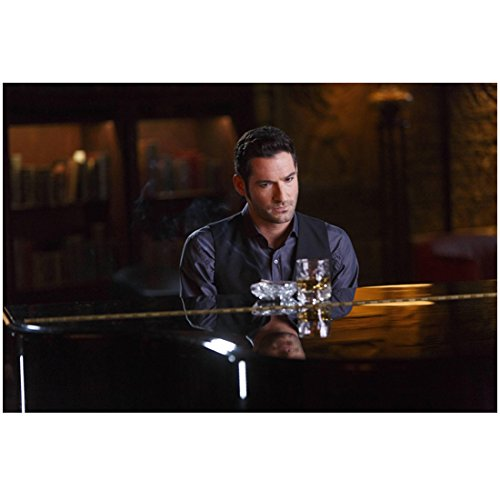 Tom Ellis 8 Inch x 10 Inch Photograph Lucifer (TV Series 2015 - ) Seated at Piano w/Drink Pose 2 kn