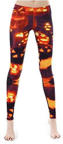 Pumpkin Lamp Printed Cute Skinny Legging Tights for Halloween Party Costume ()