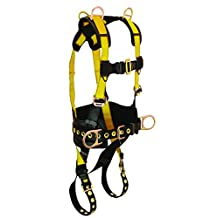 FallTech 7034XX Journeyman Full Body Polyester Harness with 5 D-Rings and Tongue Buckle Leg Straps with Belt, Double Extra Large