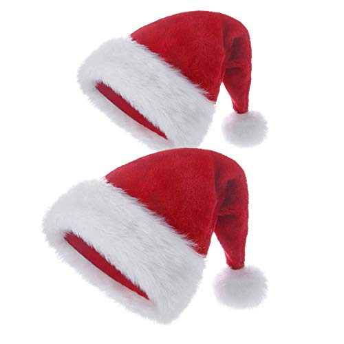 Santa Hat,2pack Novelty Christmas Hat,Christmas Ornaments for Children and Adults Red