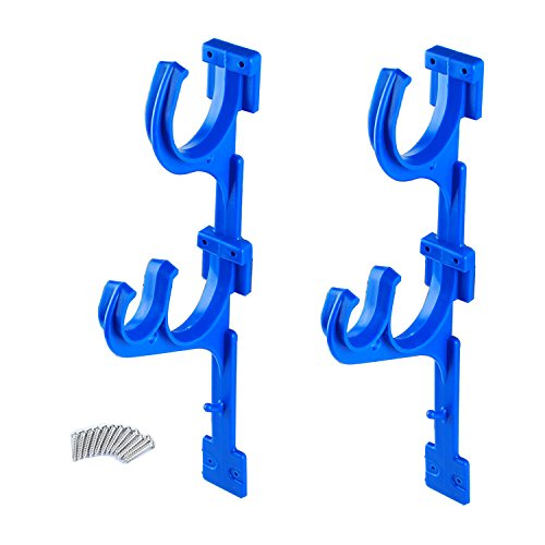 Pool Hose Hanger Swimming Pool ABS Plastic Pole Holder Set with 12 Screws for Telescoping Poles Leaf Rakes Skimmers Nets Brushes Vacuum Hoses and Garden Tools (2 Packs) ()