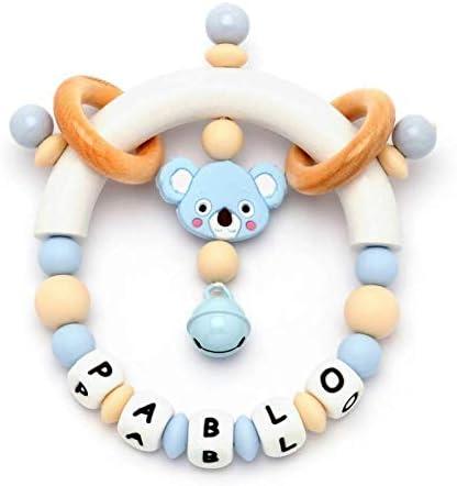arco iris Nombre personalizado Beb/é Recuerdo Sonajeros Mordedor para ni/ños y ni/ñas Baby