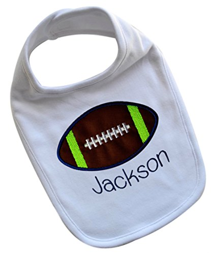 Handmade AND PERSONALIZED Embroidered FOOTBALL Bib for Baby BOYS (SEATTLE COLORS)