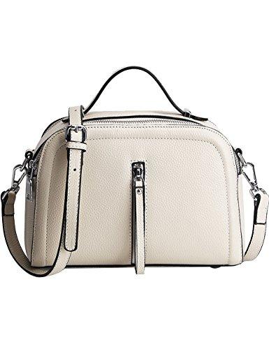 Menschwear Womens Genuine Leather Top Handle Satchel Bag White by Menschwear