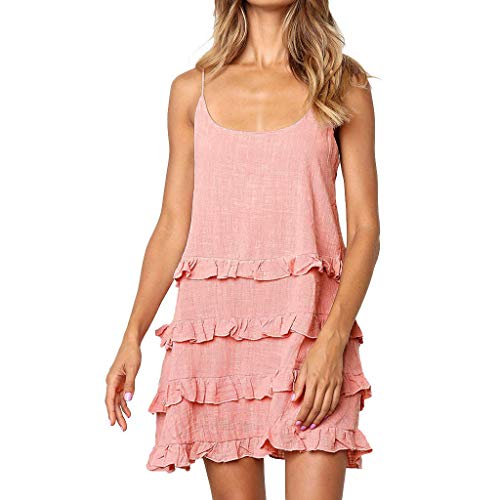 (Alangbudu Women Spaghetti Straps Casual T Shirt Dresses Beach Cover up Plain Pleated Tank Layered Look Dress Multi-Tier Dress)