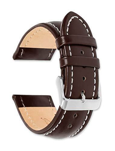 - Breitling Style Oil Tanned Leather (Long Length) Watch Band (Silver & Gold Buckle) - Brown 22mm