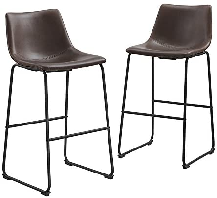 """Walker Edison Furniture 30"""" Industrial Faux Leather Kitchen Dining Chair Barstool, Set Of 2, Brown (AZHL30BR)"""