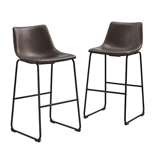"""Walker Edison Furniture Company 30"""" Industrial Faux Leather Armless Indoor Kitchen Dining Chair Barstool with Metal Legs Upholstered, Set Of 2, Brown -  CHL30BR"""