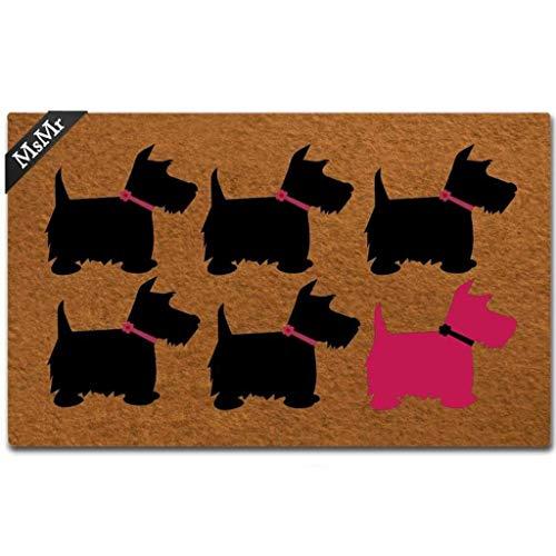 - MsMr Doormat Entrance Floor Mat Funny Door Mat Scotty Dog Designed Non-Slip Doormat 23.6 by 15.7 Inch Non-Woven Fabric