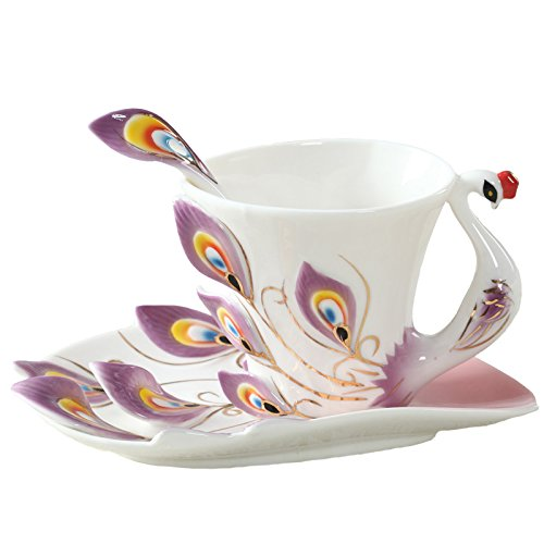 gangnumsky-Peacock Coffee Cup Ceramic Creative Mug 3D Color Enamel Porcelain Saucer Spoon Coffee Tea Sets for friend Gift For Show Purple
