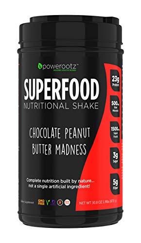 Powerootz Chocolate Peanut Butter Madness Superfood Nutritional Shake Powder - Vegan Protein Powder - Vegan Meal Replacement