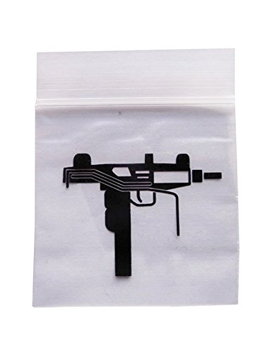 100 RESEALABLE CLEAR 5CM X 5CM BAGS WITH UZI DESIGN: Amazon