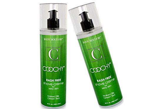 Coochy Rash Free Naked Silk Green Tea Water Based Shave Creme (Safe for All Body Parts Including Face and Intimate Areas) - Size 16 Oz (Pack of (Coochy Green Tea)