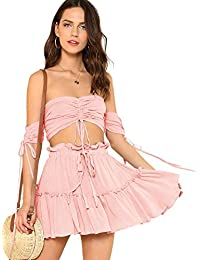 ef7f24ab361 Women s Two Piece Outfit Off Shoulder Drawstring Crop Top and Skirt Set