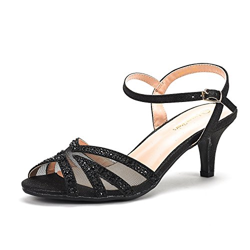 (DREAM PAIRS Women's Nina-166 Black Low Heel Pump Sandals - 9.5 M US)