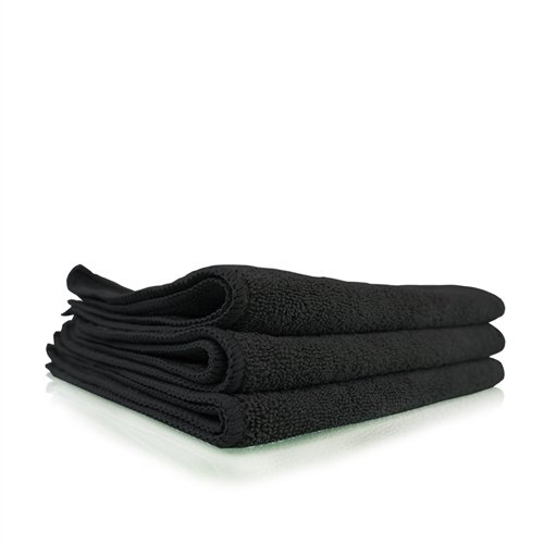 03 Workhorse Professional Grade Microfiber Towel, Black (16 in. x 16 in.) (Pack of 3) ()
