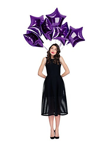 Treasures Gifted 18 Inch Purple Star Mylar Balloons Foil Decorations for Mermaid Birthday Under The Stars Party Sweet 16 or Tropical Sea Graduation (6 Pack)