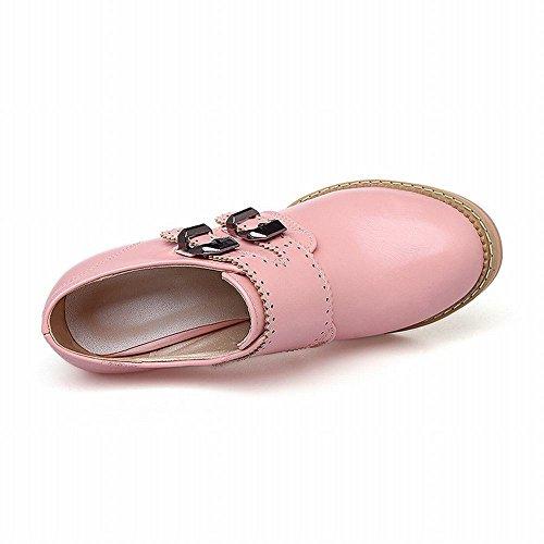 Stivaletti Alla Caviglia Con Cinturino Alto E Tacco Alto, Scarpe Monaco Strap Rosa