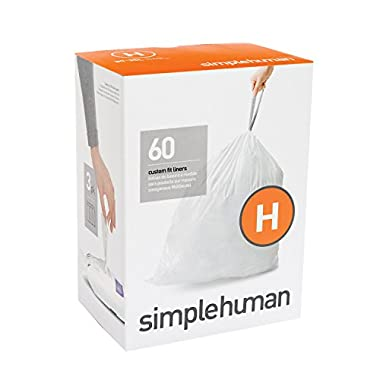 simplehuman code H custom fit liners 3 refill packs, (60 liners),Code H - 30-35L / 8-9 Gallon, White