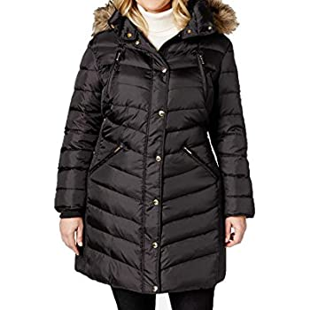 37e24cab2ec57f MICHAEL Kors Hooded Faux Fur Down Puffer Coat women's black Knit panels  jacket (XXL)