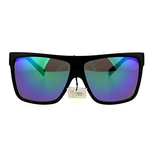 Mirrored Squared Flat Top Mob Gangster Plastic Rectangle Sunglasses Black (Plastic Rectangle Sunglasses)