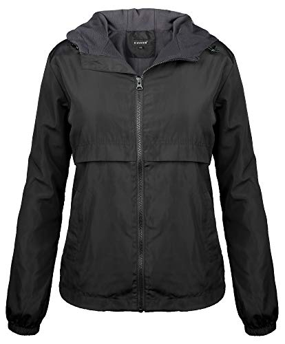 iLoveSIA Womens Fleece Lined Hooded Jacket with Rainproof Windproof Shell US 10 Black