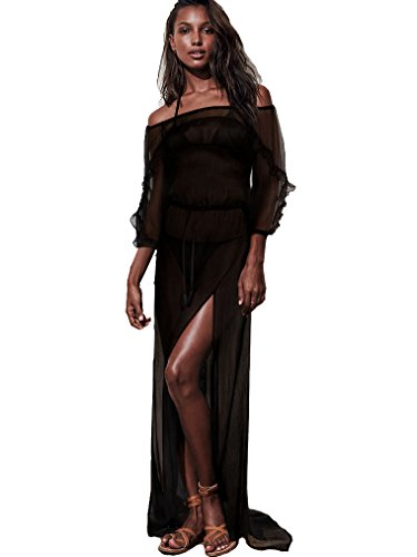 Victoria's Secret Swim Cover Up Black Off Shoulder Sheer Maxi Dress Size (Victorias Secret Maxi Dress)