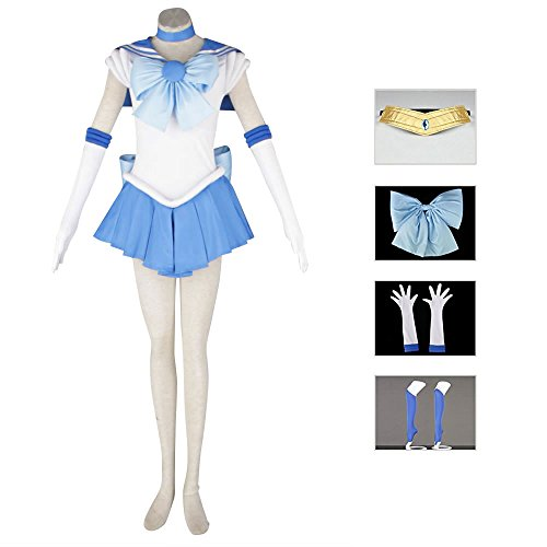 OURCOSPLAY Women's Sailor Moon Mercury Mizuno Ami Battle Cosplay Costume Dress 6 Pcs Set (Women US M/CN XL)