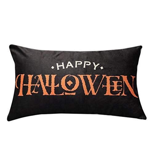 GREFER Halloween Decorations Pillow Cases Pillowcases Linen Sofa Pumpkin Ghosts Cushion Cover Home Decor (Colorful-I) (Home Near Decor Me Shops)