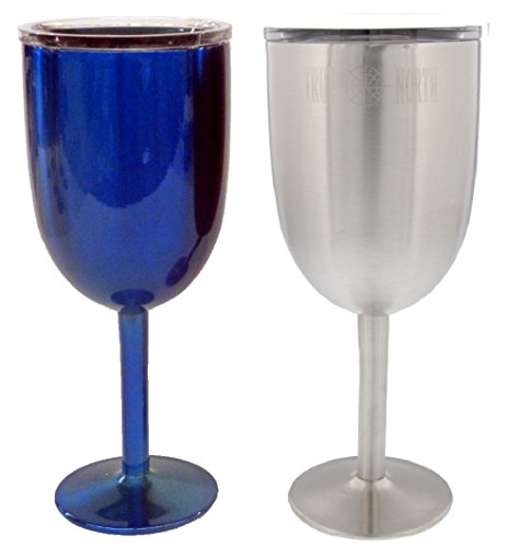 2 True North Stainless Steel Double Walled Wine Glasses With Lids (Blue & Stainless Steel) by TRUE NORTH